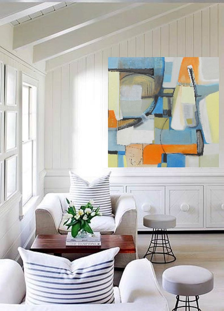 Bold Colorful Large Abstract Art Oil Painting By Fine Artist Danielle Nelisse Completes Interior Design Accessories