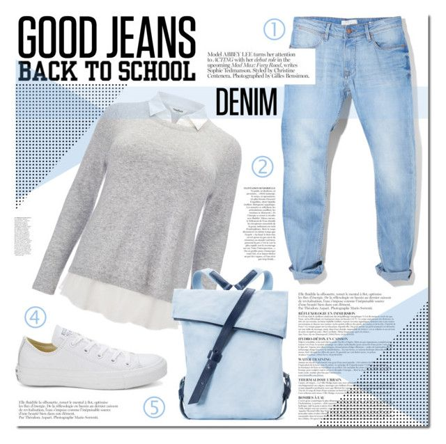 Back to School: Good Denim Jeans by artdesignstyle on Polyvore featuring Studio 8, MANGO, Converse, Seventy Eight Percent, Anja and BackToSchool