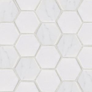Statuario Hex Mosaic 12 in. x 12 in. Marble Floor and Wall Tile-53087 at The Home Depot