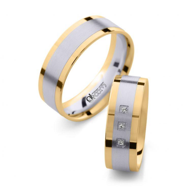 Verighete ATCOM Lux SOFIA aur alb cu galben  - 30 % REDUCERE (economisesti 1125.15 ron)