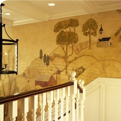 144 best Colonial and Primitive Wall Murals and Paintings images on ...
