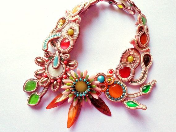 Soutache necklace summer rainbow multicolor colorful happy days spring flowers on Etsy, $350.00