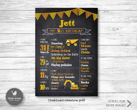 Construction chalkboard print poster chart board party milestone print digger first birthday party ideas