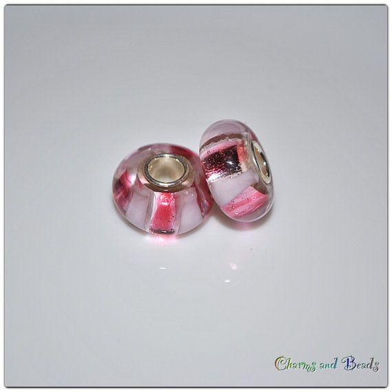 Bead charm rosa in vetro murano con foro di CHARMSandBEADSsol, $6.50