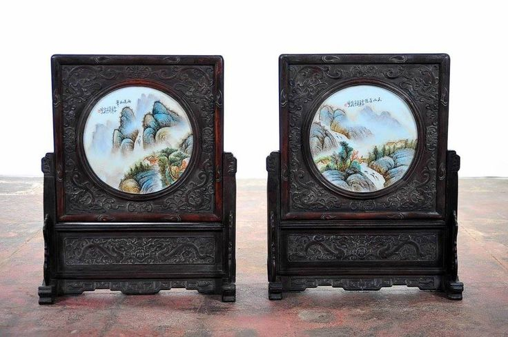 """Chinese Pair of Circular Porcelain Hand Painted Panels w/Wooden Stands – 25""""H x 20½""""W – ID# 2047 – $2,700.00 (FL) #antiques #stands"""