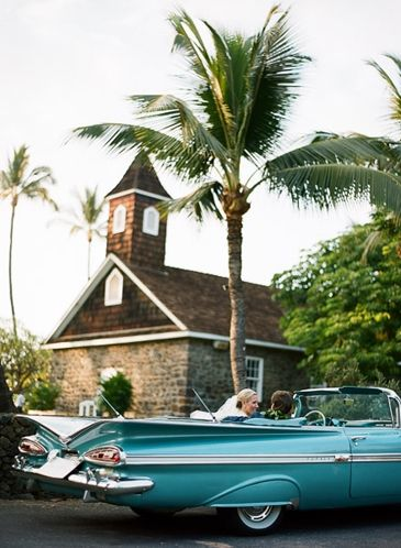 Vintage Blue Car голубой свадебный автомобиль