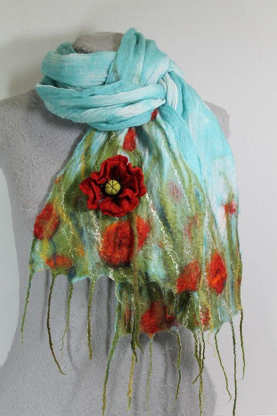 nuno felted scarf poppy field ooak fashion flair