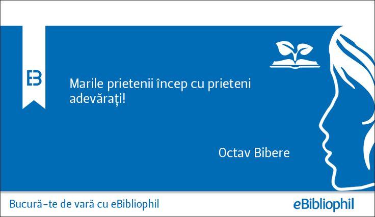 """"""" Marile prietenii încep cu prieteni adevărați."""" Octav Bibere"""