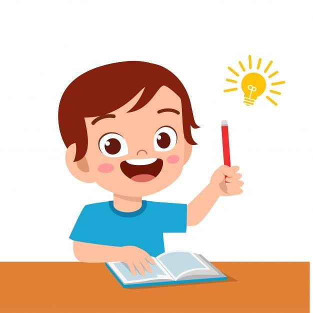 Happy Cute Kid Boy Study Hard Think Boy Study Kids Clipart Free Teacher Cartoon