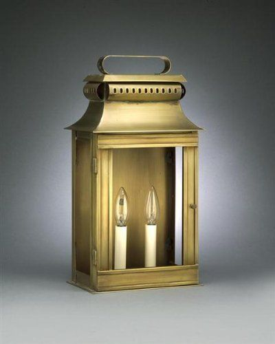Pagoda Wall Raised Top Dark Antique Brass Medium Base Socket With Chimney Clear Glass by Northeast Lantern. $406.50