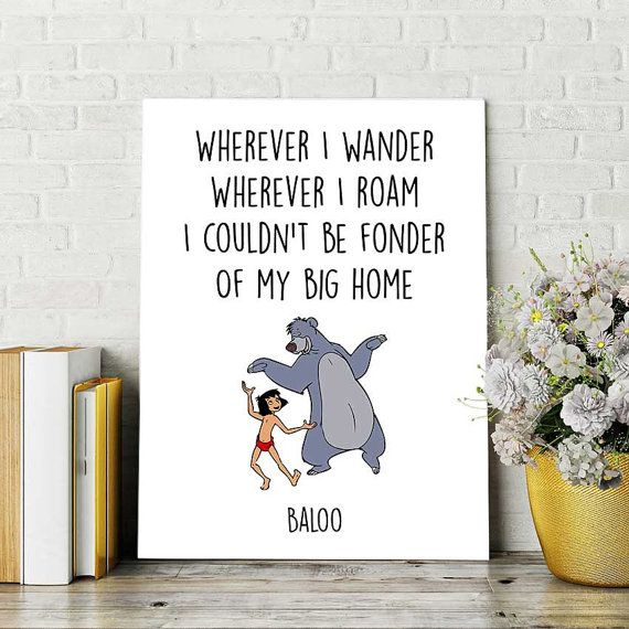 Disney Quotes, Jungle Book Print, Baloo and Mowgli, Printable Quote, Nursery…