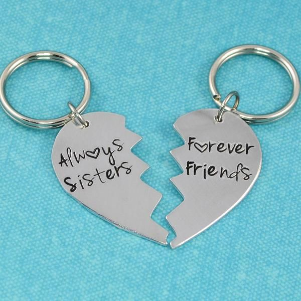 """A perfect gift for you and your sister!! These broken heart key chains are stamped with """"Always Sisters"""" and """"Forever Friends"""". The Details •Handcrafted using 18 gauge aluminum •Each half measures app"""