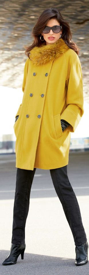 Women fashion clothing outfit style sunglasses coat fur earrings pants heels black yellow gloves leather