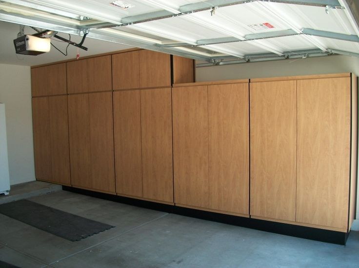 Shelves And Full Natural Wooden Also Garage Cabinets Diy ...