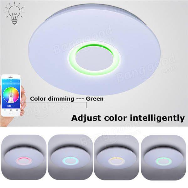24W Modern Flush Mount LED Ceiling Light Indoor Lamp Fixture with Music Bluetooth Speaker AC85-265V