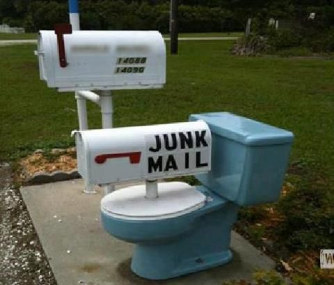 junk mail...what a great idea for a used toilet! lol
