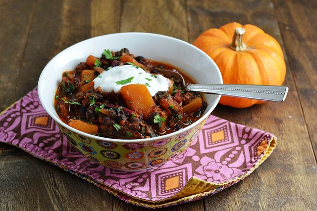 black bean and chorizo chili with butternut squash and swiss chard ...