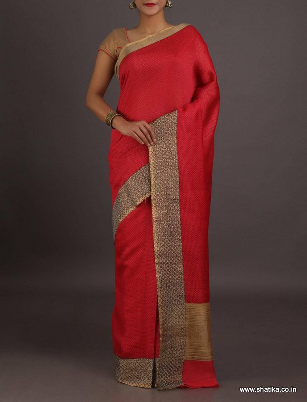 Rosaline Plain Red With Gold Weave Border #Georgettesilksaree