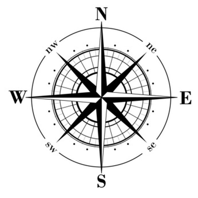 Example of a simple eight-pointed compass rose medallion