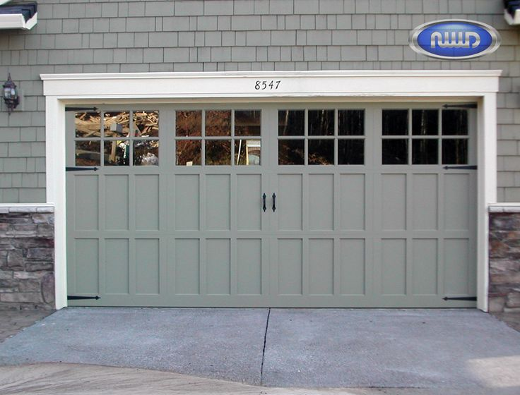 Infinity Classic - Aluminum Garage Door - Carriage Design; I206S- Single ones x 3 and white