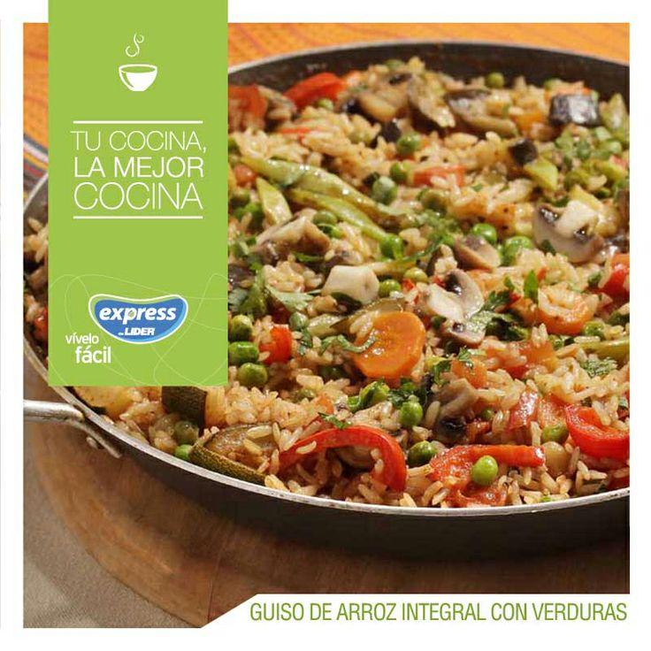Guiso de arroz integral con verduras. #Recetario #Receta #RecetarioExpress…