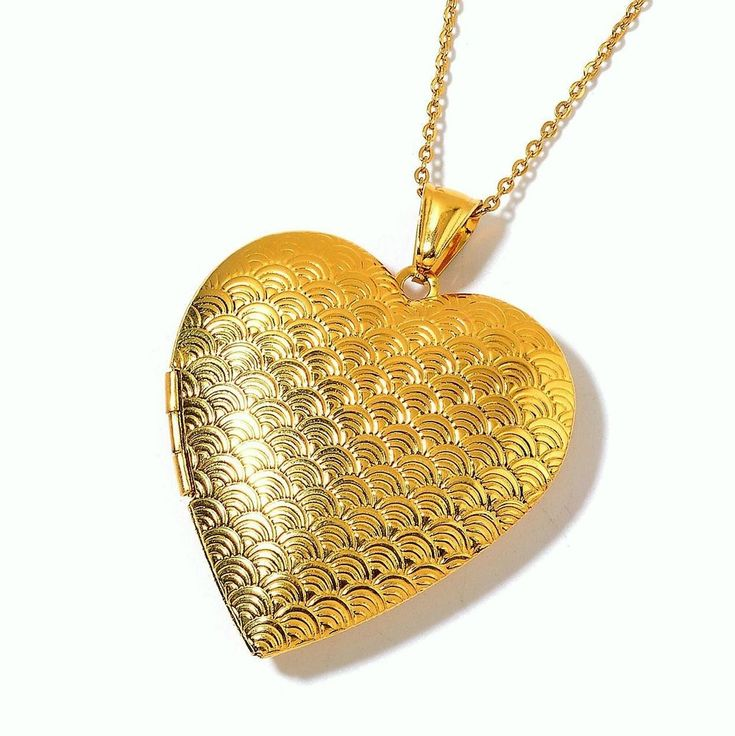 Yellow Gold Stainless Steel Locket with 24 in chain locket design  2 inches #Unbranded #Pendant