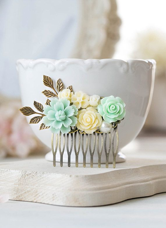 Mint Wedding Hair Comb Mint Green Ivory Rose Flowers by LeChaim