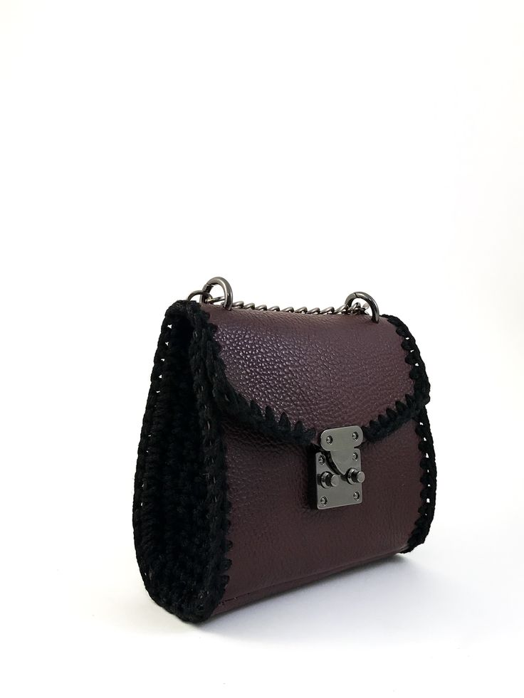 Shoulder mini bag handmade from genuine calf leather with crochet details . Interior leather lining. Size: 19x18  Comes in a dust bag  Markella Fili Creations