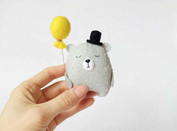 Grey Felt Bear With A Balloon Teddy Bear Felt Bear In by AmuruToys