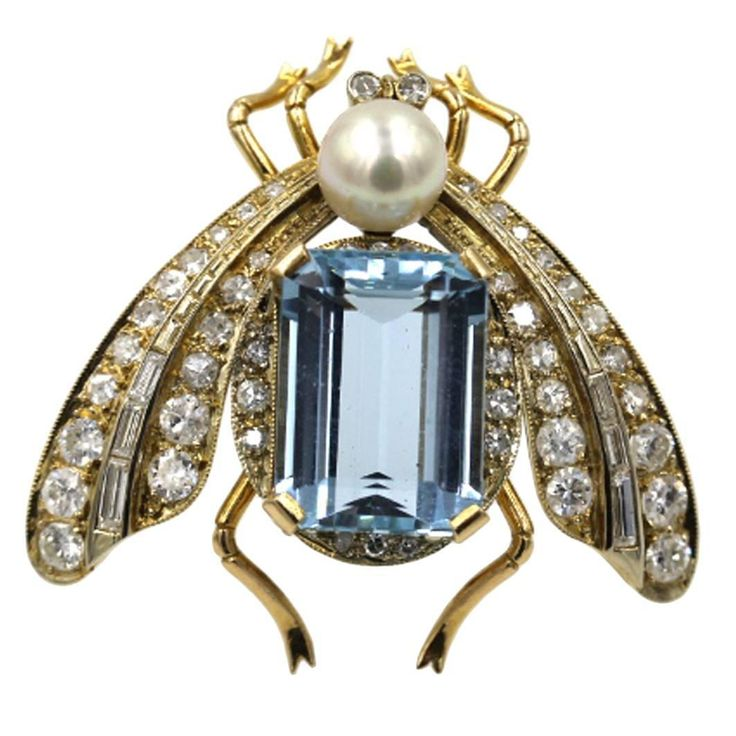 1950s Cultured Pearl Aquamarine Gold Bug Pin | From a unique collection of vintage brooches at https://www.1stdibs.com/jewelry/brooches/brooches/
