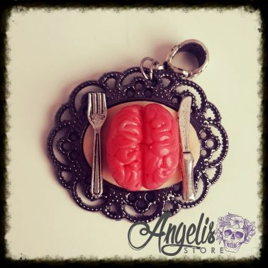 Handmade Polymer Clay Zombie Brain Pendant