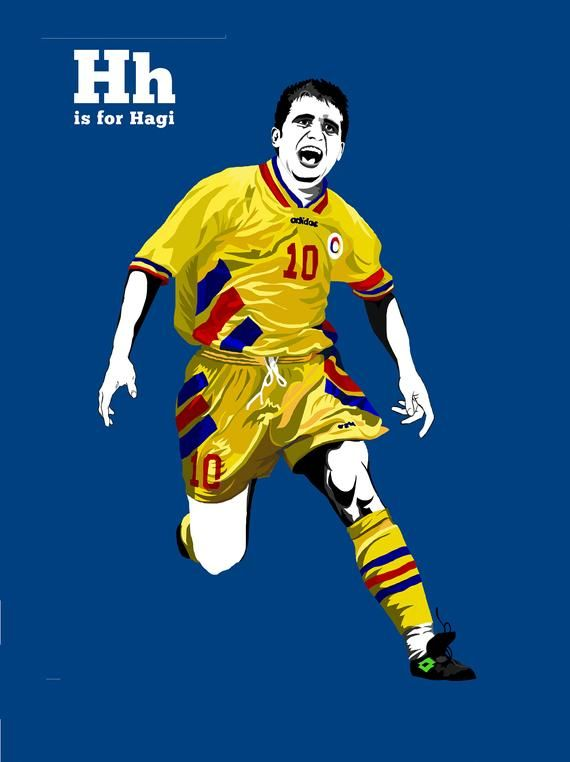 Gheorghe Hagi Retro Glossy Art Print 8x10 Inches A4 Real Etsy In 2020 Hagi Football Football Pictures
