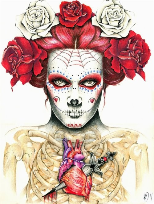: The Faces, Illustration, Art Drawings, Sugar Skull, Of The, Kelly Durett, Day Of The Dead, Dead, Day