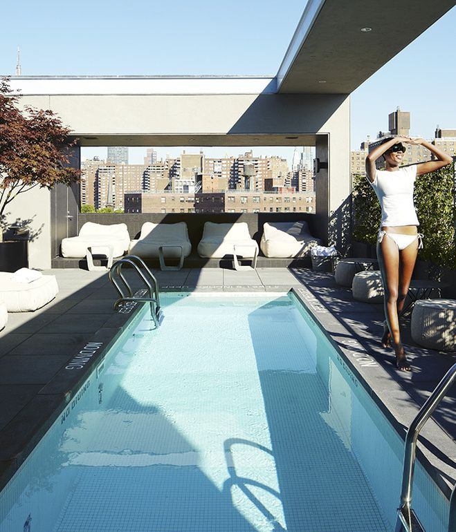 The rooftop has a chic pool great views and food and for La piscine restaurant new york