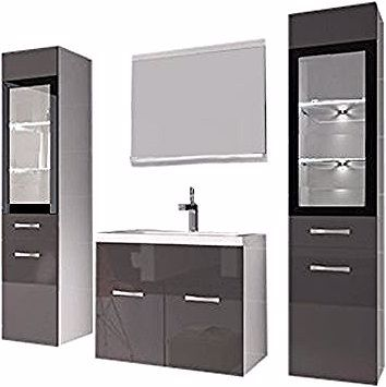 Meuble De Salle De Bain Rio Xl Led 60 Cm Lavabo Gris Brillant Armoire De Rangement Meuble Lavabo Badplaats Bathroom Vanity Vanity Single Vanity