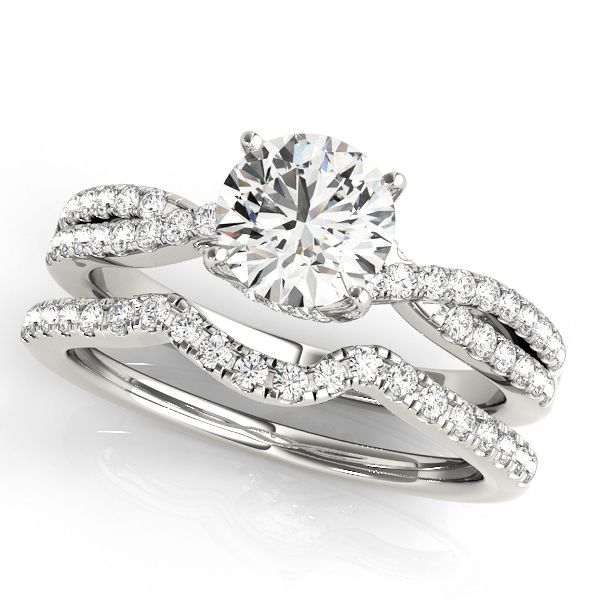 Round Diamond Engagement Ring & Band Bridal Set 14k White Gold 1.32ct - Allurez.com
