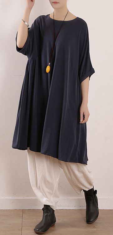 d20464f6c8b6a Elegant o neck large hem silk Tunics Boho design blue Art Dress Summer