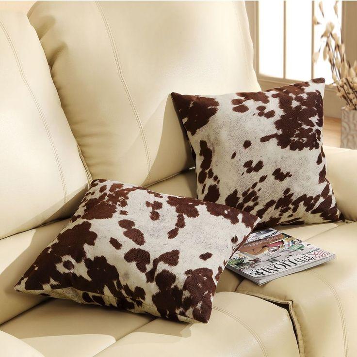 Cowhide Throw Pillow Discount Home Decor Set of 2 #Tribecca