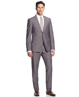 Para Antonio  Andrew Fezza Suit Grey Sharkskin Slim Fit Big and Tall - Suits & Suit Separates - Men - Macy's