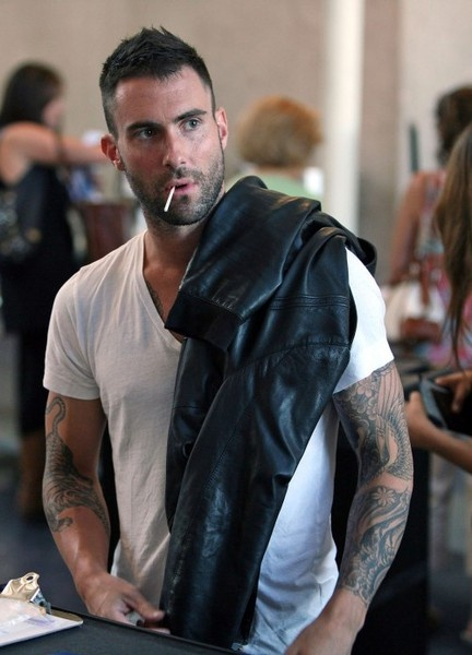 Adam Levine mmmm...tattoos and white tee shirt AND a leather jacket? Really Adam?? Really??