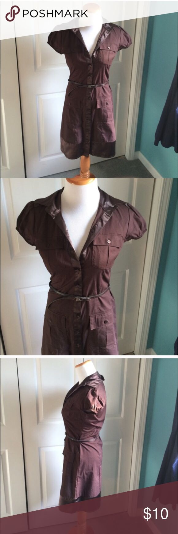 Military Cargo Shirt Dress Brown cargo/military shirt dress with removable belt. Silky bottom hem. Never worn, in perfect condition. NWOT. Dresses