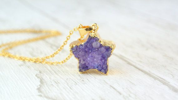 Star Shape Druzy Pendant / Druzy Nacklace / Natural Geode Stone / Mineral Jewellery / Gift