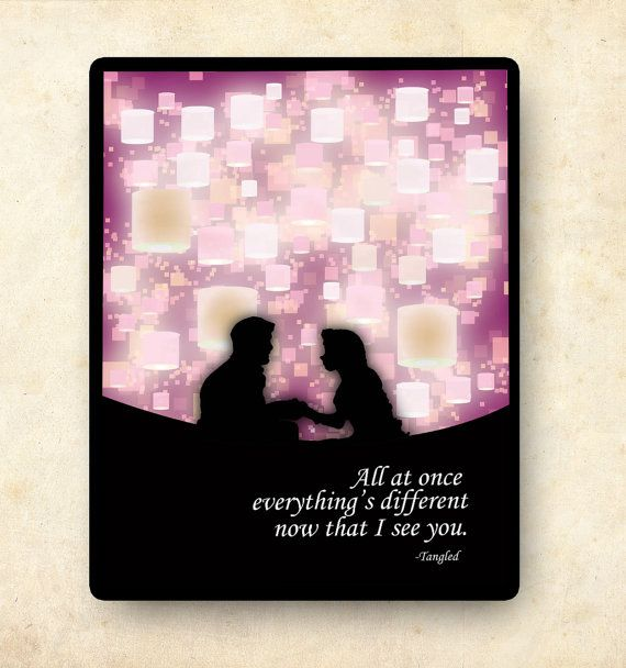 tangled disney princess inspirational quote by studiomarshallarts, $12.00  (I like this idea of shadow forefront with art detailed background)