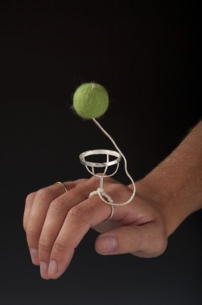 Lucky Catch (in use) - Sterling Silver, Felted Alpaca