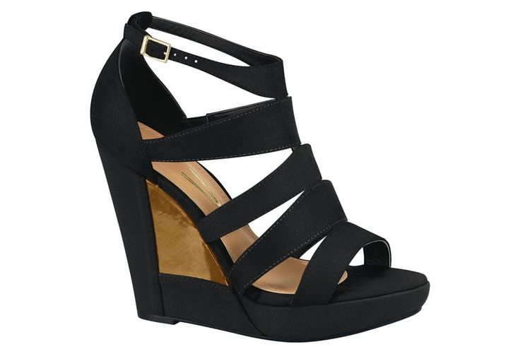 Gorgeous black wedges with bronze detail in the heel, complemented with an upper made of straps, including an ankle strap. A perfect shoe for spring/summer.
