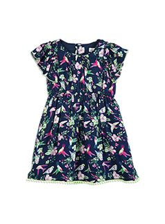 Toddler Girls Floral Bird Print Dress Midnight Blue dress