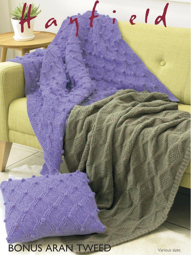 Hayfield 7792 Blankets & Cushion Cover in Hayfield Bonus Aran Tweed (#4) Weight Yarn