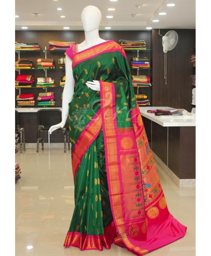 Pure Authentic Paithani Handloom Silk Saree in dark green pink