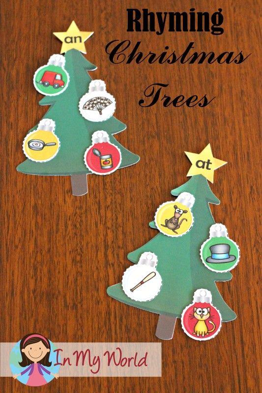 Kindergarten Rhyming Christmas Trees - a self-checking literacy center