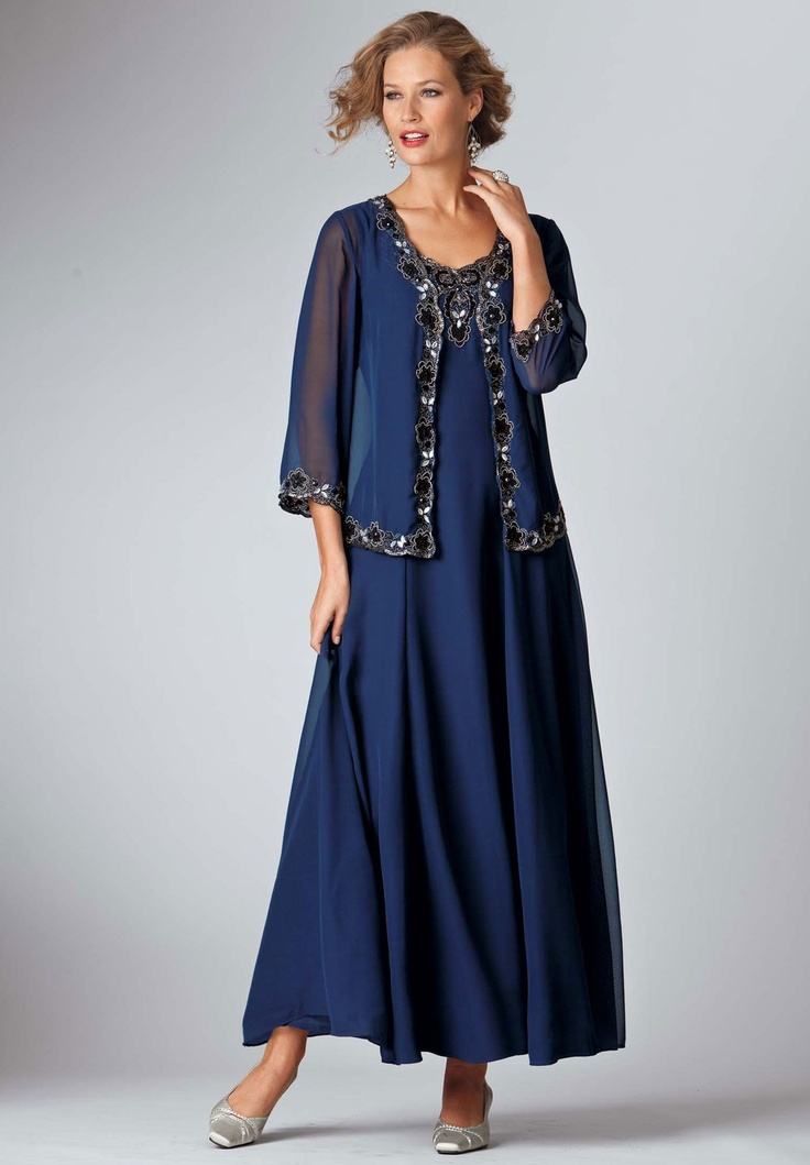Plus Size Beaded Trim Fit and Flare Jacket Dress image-possibility for grandmother of the bride...My mother wore this for her grand-daughter's wedding and looked beautiful!